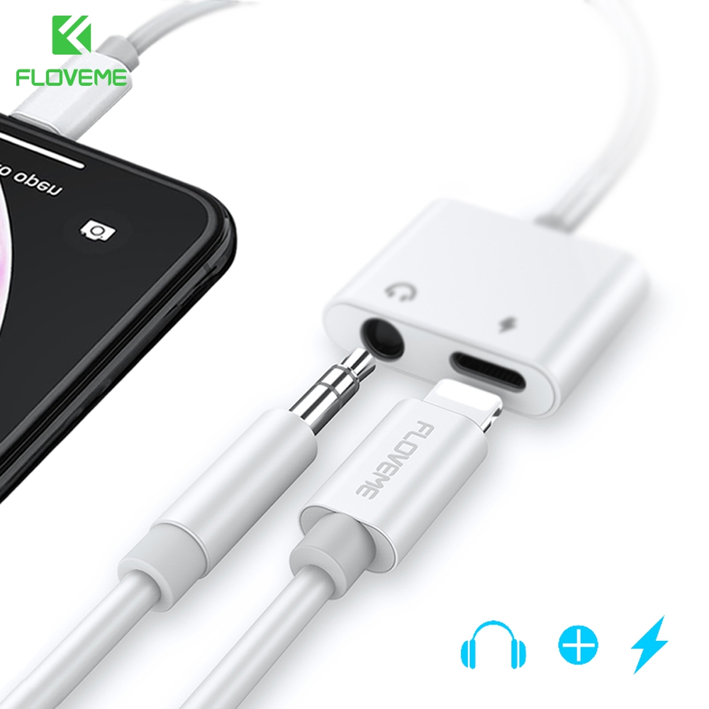 FLOVEME 2 In 1 Adapter For IPhone X XR XS MAX 8 7 For IPhone To 3.5mm Jack Earphone Adapter Audio Charging Splitter Converter