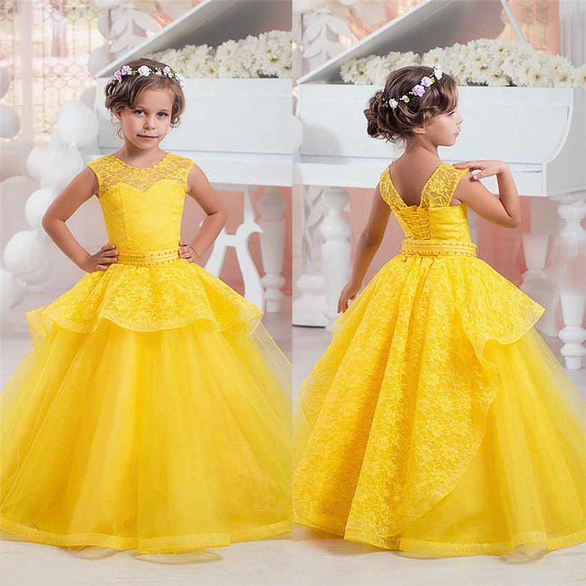 Elegant Dresses For Birthday Kids Yellow Tulle Lace Flower Girl Dresses Princess Gown Floor Length For Wedding Party Dress