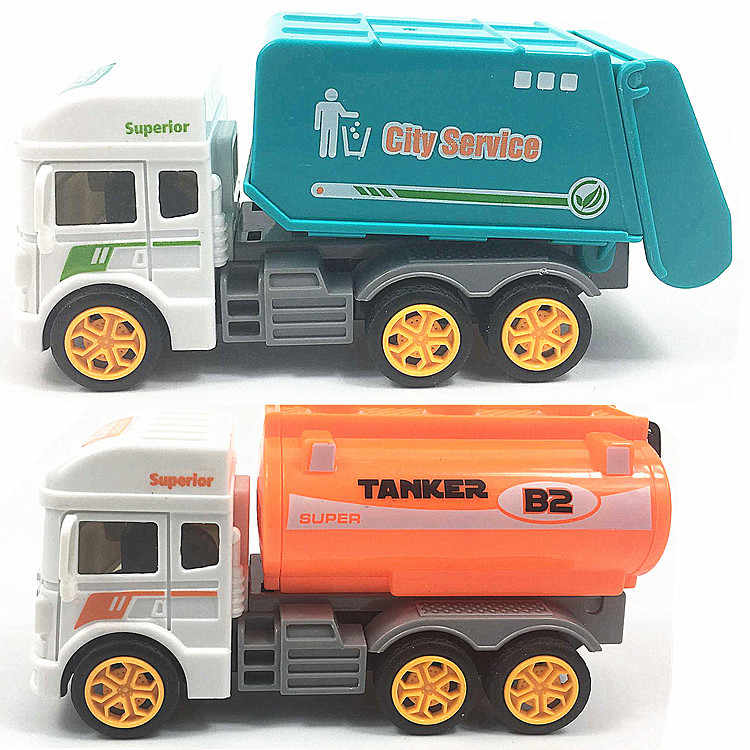 1pcs boy car toys for boys Simulated Garbage truck sanitation vehicle oil tank car toy truck childern Inertial Toys kids gifts