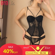 CINOON New High Elasticity Corset Bustier With Cup Girdle Set With Straps Belt Breathable Fabric Lingerie Black corset dress