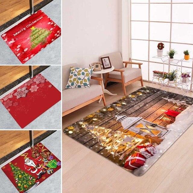 5 Size Christmas Door Mat lannel Carpet Room Anti Slip Kitchen Bathroom Pad Door Area Rug Cushion 2019 Christmas Santa Floor Mat 4