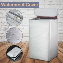 Silver Waterproof Washing Machine Cover Zippered Top Sunscre