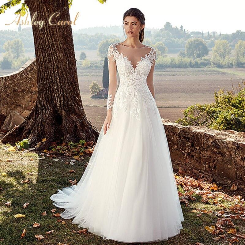 Ashley Carol Appliques A-Line Wedding Dress 2019 New Graceful V-neck Lace Long Sleeve Illusion Bridal Gown Vestido De Novia