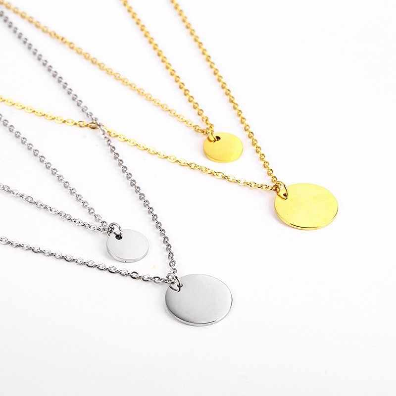 RIR Stainless Steel Minimalist Double Layer Round Gold Coin Necklace Creative Unique Round Medal Ladies Jewellery Necklaces