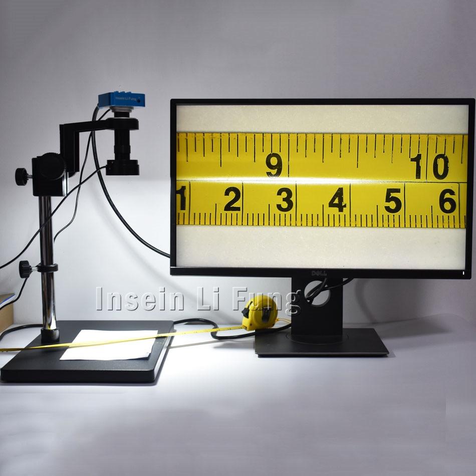 20MP HDMI USB HD Vidéo Microscope Caméra + Haute Distance de Travail Grand Champ de Vue 5-100X Zoom c-mount lentille + Workbench + LED Lumière