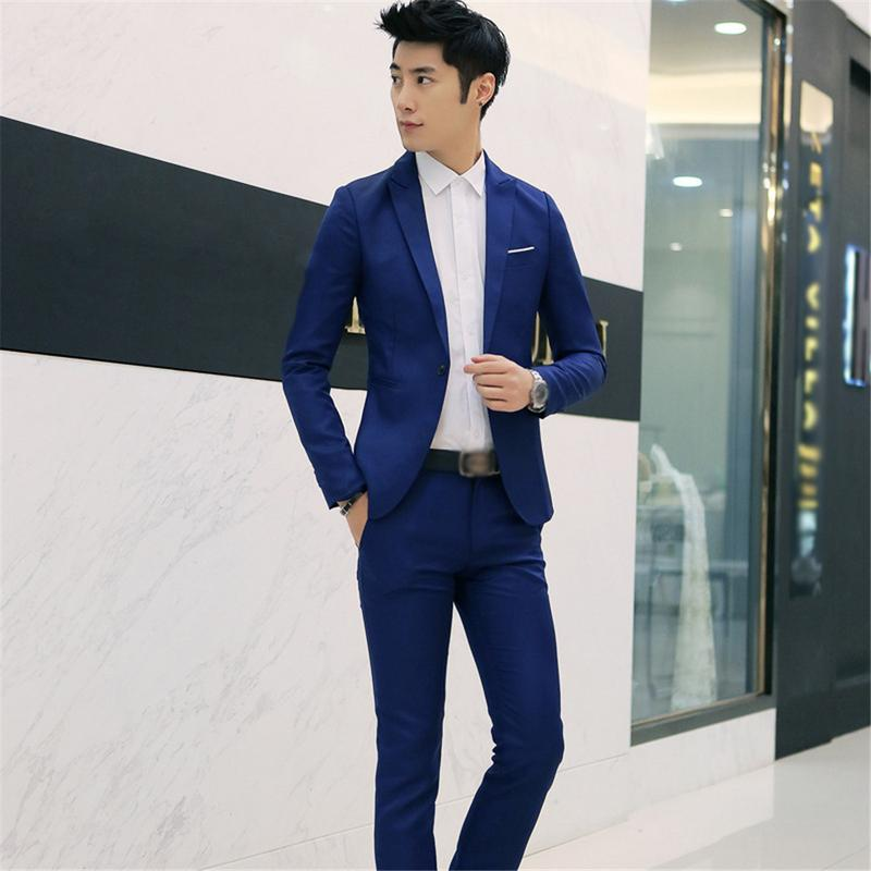 (Jacket+Pant) Men Blazer Suits High Quality Cotton Slim Fit Men Suit Terno Masculino Blazers Male Jacket Suit Blazer