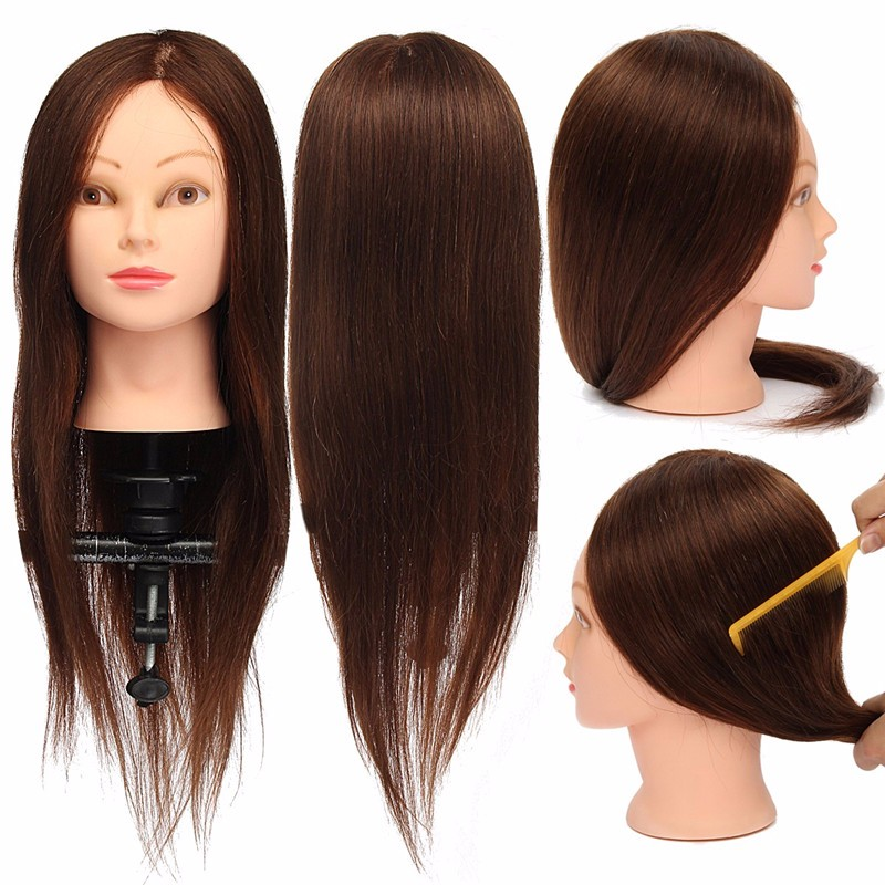 24 Inch 100% Real Natural Hair Training Mannequin Head With Stand Holder Professional Hairstyle Practice Wig Head Women Brown