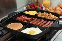 5 In 1 Divided Non Stick Pan Sectional Frying Pan Meal Skillet Aluminum Grill Coating Cast 38*56CM