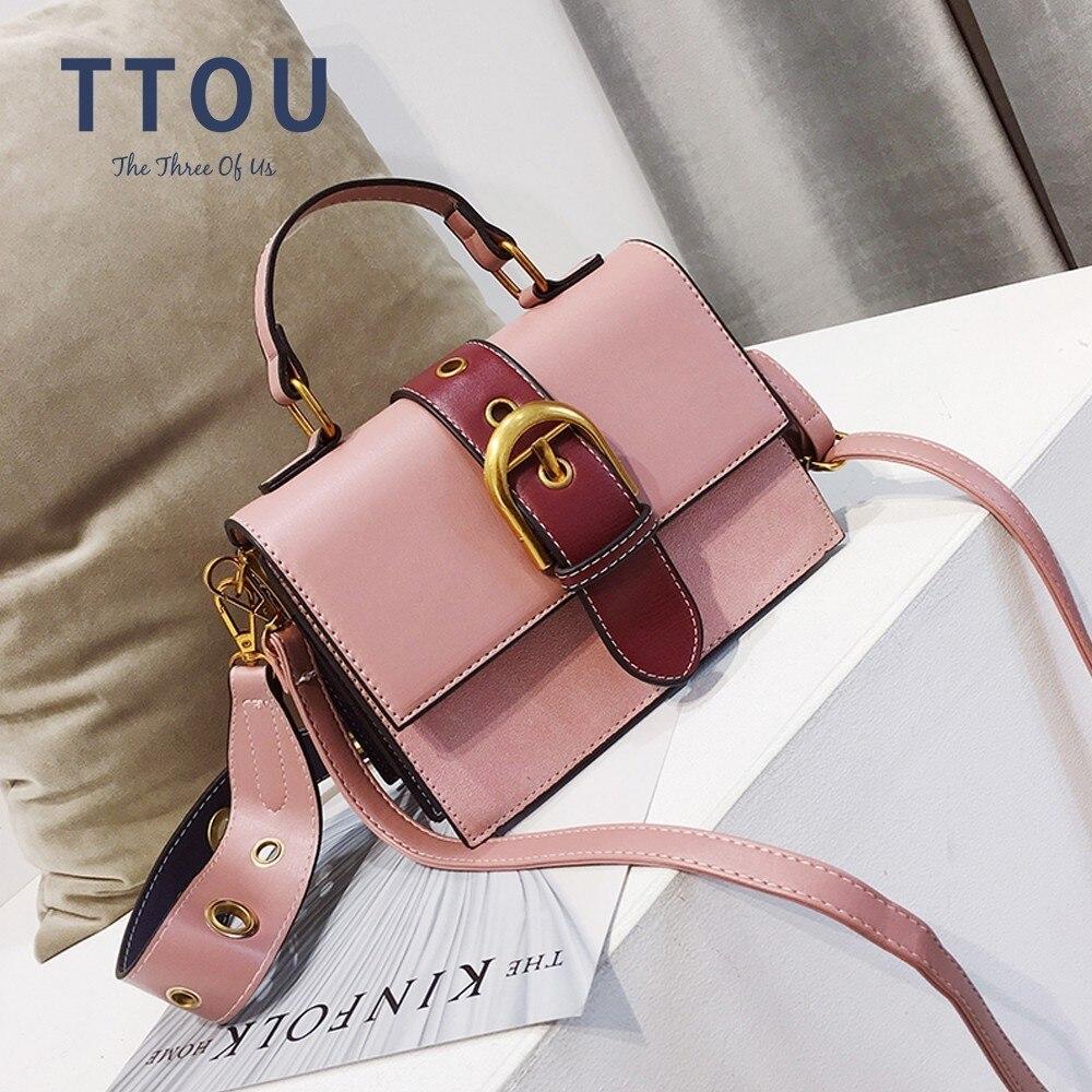 TTOU Weibliche PU Leder Tasche Hit Farbe Tragbare Schulter Tasche Frauen Mode Crossbody-tasche Getäfelten Messenger Tasche