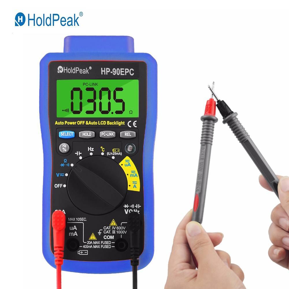 HoldPeak HP 90EPC Multimeter Digital USB Multimeter Digital Temperature Resistance Current Voltage Capacitance Meter Data Hold