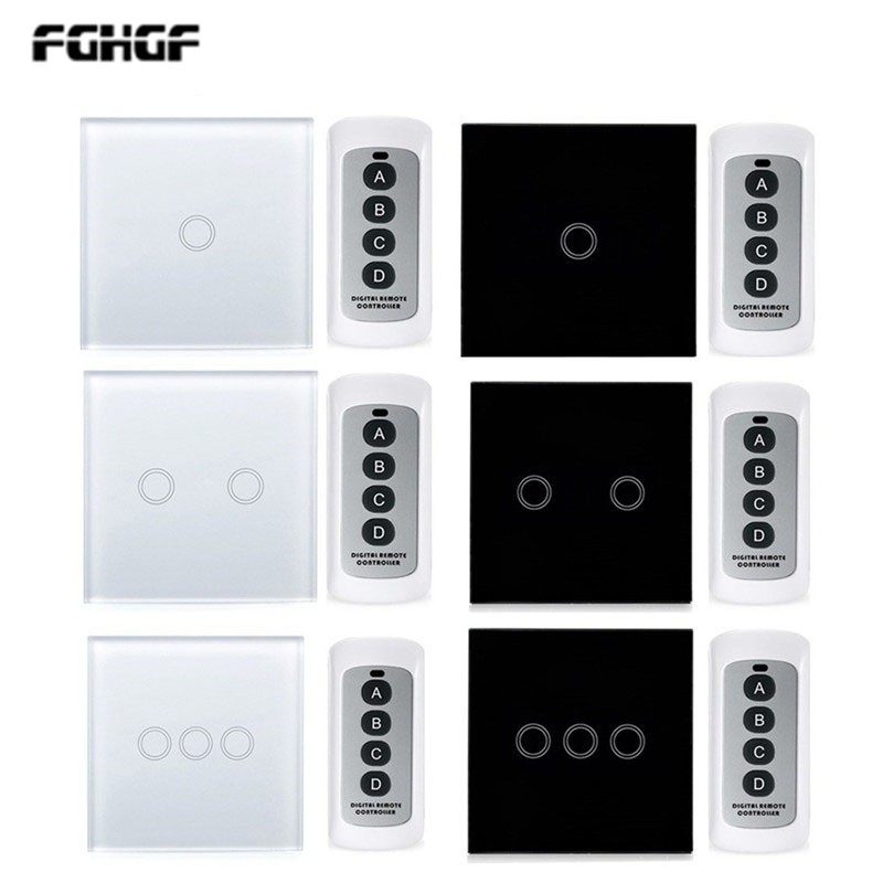220V glass wireless remote control touch switch touch sensor <font><b>wall</b></font> switch, EU standard <font><b>RF433</b></font> remote switch with remote control image