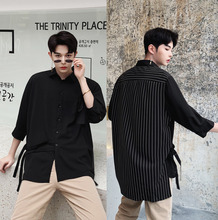 Mens Shirt 19 Spring New Youth Popular Personality Tide Sleeve Loose Version Excellent Casual Clothing