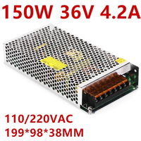 1PCS 150W 36V 4.2A Switching Power Supply 36V 4.2A Driver for LED Strip AC 100-240V Input to DC36V S-150-36
