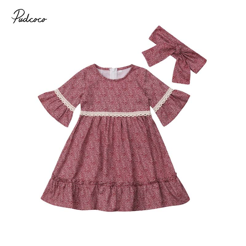Boho Girl Dress Cotton Kids Baby Girls Floral Lace Long Flare Sleeve Party Holiday Dresses Headband 2019 Sping Clothes Profit Small