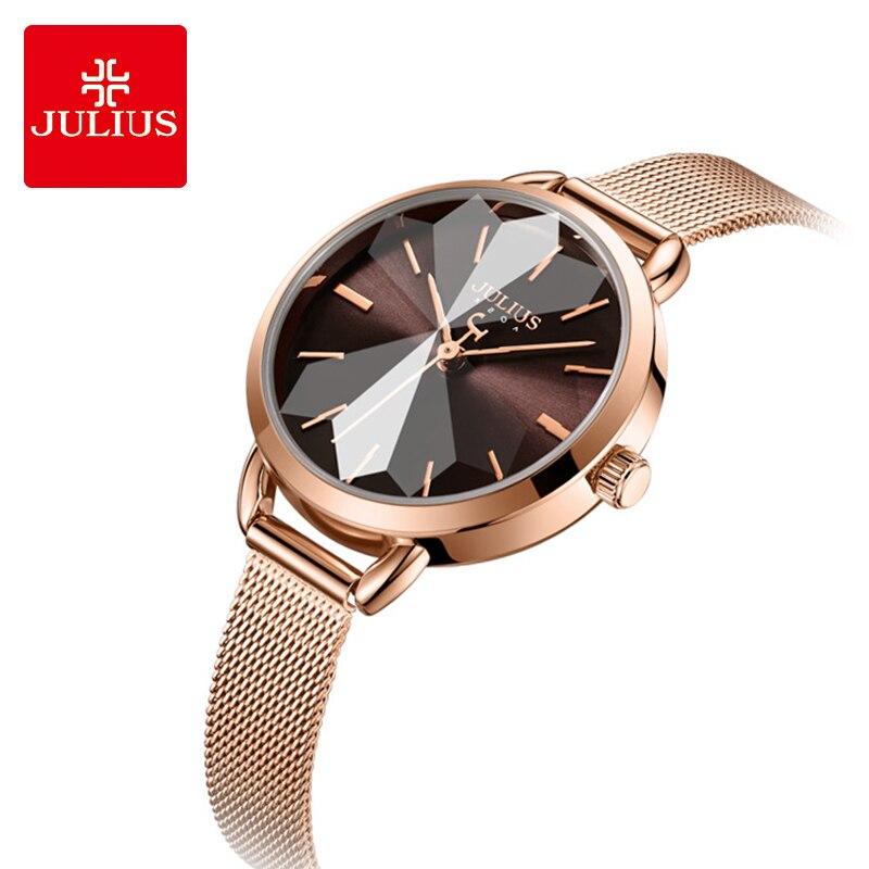 Relojes de cuarzo de lujo Julius relojes de moda multicorte Dial para mujer reloj de vestir correa de acero de oro rosa relojes de pulsera de mujer reloj de regalo-in Relojes de pulsera de mujer from Relojes de pulsera    1