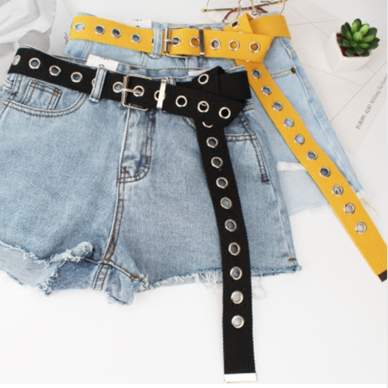Fashion Canvas Hollow Out Women   Belts   Circle Hole 2019 New Spring Summer Student Decoration Causal Strap