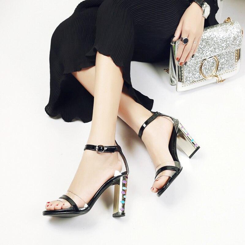 5 Emballage Femme À toe Cuir Boîte Cm 1832 Open Chunky Pompes Robe Femmes Parti En Chaussures Boucle Talons Sexy khaki D'été Black 9 Sandales HIxxaRq