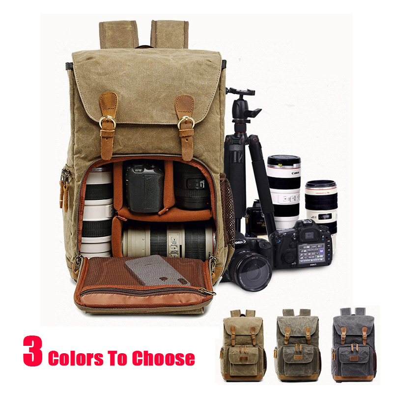 Batik Canvas Photo Backpack Waterproof Men Tripod Bag Outdoor Wear resistant Large Camera Bag For Snoy