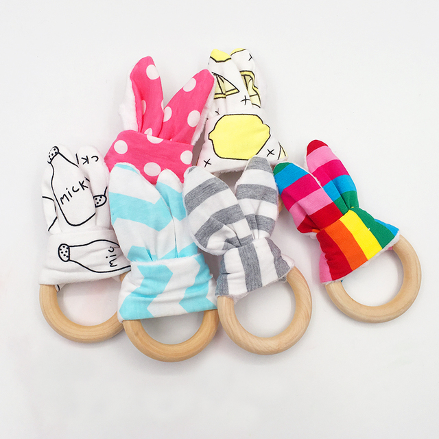 Cute Baby Girls Boys Bunny Ear Teether Kid Safe Natural Wooden Ring Bracelet Toddle Teething Chew Toys Shower Gift for Baby Care