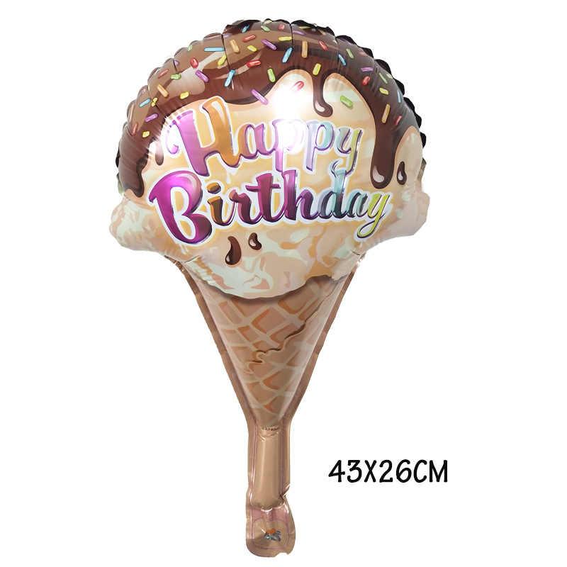 1 pc mini pizza donut sorvete folha balões feliz aniversário festa decoração do chuveiro do bebê anos balões globos crianças brinquedos