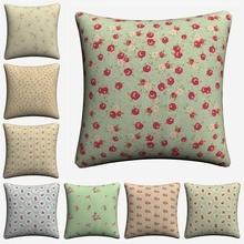 Shabby Chic Girls Flowers Pattern Decorative Cotton Linen Cushion Cover 45x45 cm For Sofa Chair Pillowcase Home Decor Almofada swans heart pattern decorative linen pillowcase