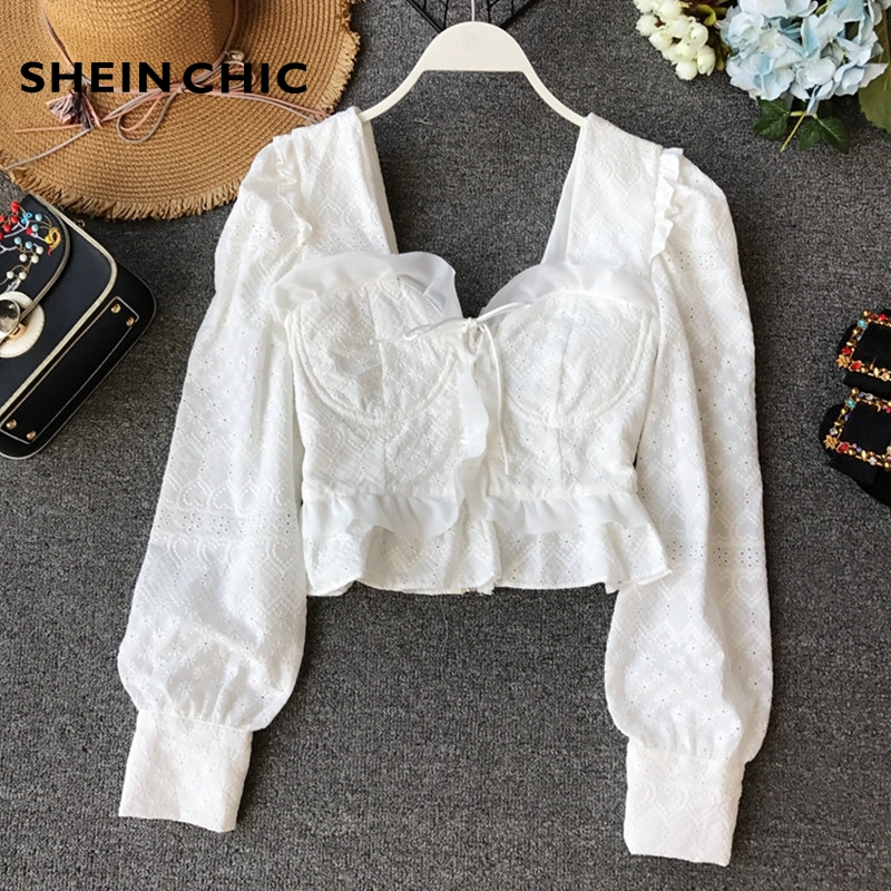 Spring Boho Chic Tops Korean Sexy Hollow Out Lace Blouses Woman 2019 White Black Blue Short blusa feminina