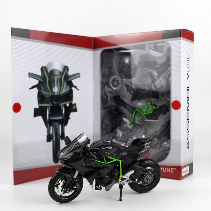 MaiSto Die-Cast Metal <font><b>Model</b></font> Kits: KAWASAKI Ninja H2R <font><b>Motorcycle</b></font> <font><b>Model</b></font> 1:12 Assemble <font><b>Model</b></font> Toys Easy Assembled With Box image