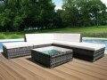 Panana 6 PCS Rattan Outdoor Garten Möbel Terrasse Kaffee Tisch und Ecke Sofa Set Ottomane PE Wicker Stahl Rahmen