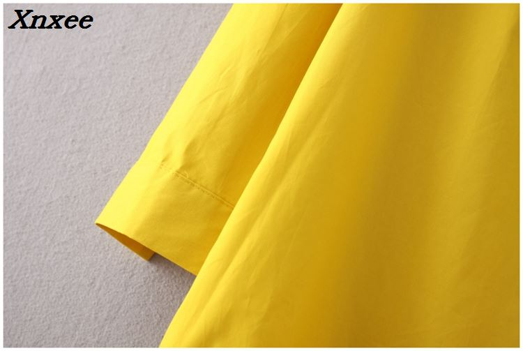 Fashion cotton solid ruffles loose shirt style long sleeves fish tail dress turn down collar yellow white dress female Xnxee in Dresses from Women 39 s Clothing