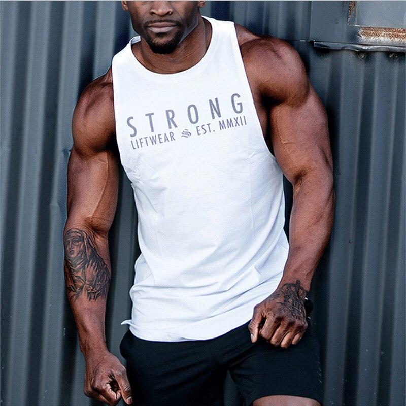 Fashion Casual Loose Solid Men Vest Bodybuild Tank Top Workout Muscle Stringer Singlet Racer Y Back Sport Summer Clothes