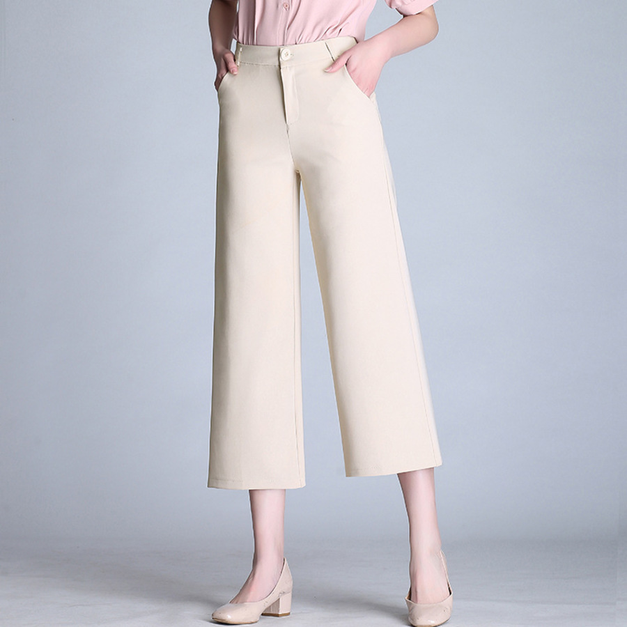 Spring Summer   Wide     Leg     Pants   Women High Waist Ankle Length Trousers Loose Work Casual Solid Wear   Pants   Plus Size S-6XL