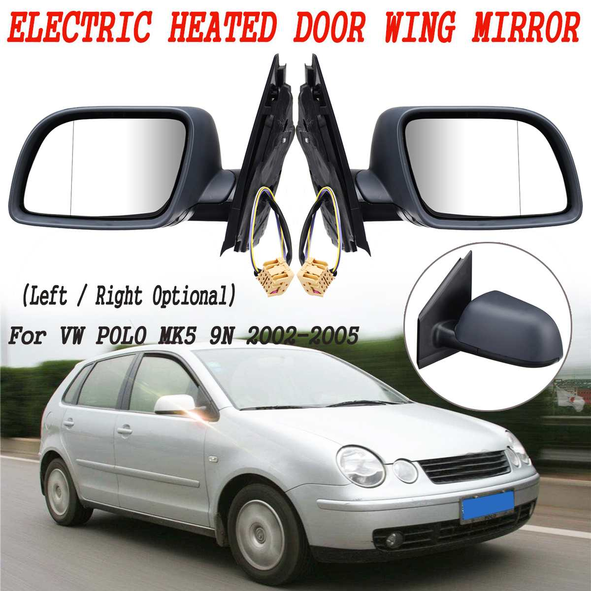 For Volkswagen Fox 2003-2011 Left passenger side wing door mirror glass