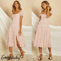 2019 New arrival Women's Boho Square Collar Dress Polka Dot Evening Party Ladies Clubwear Sundress Summer