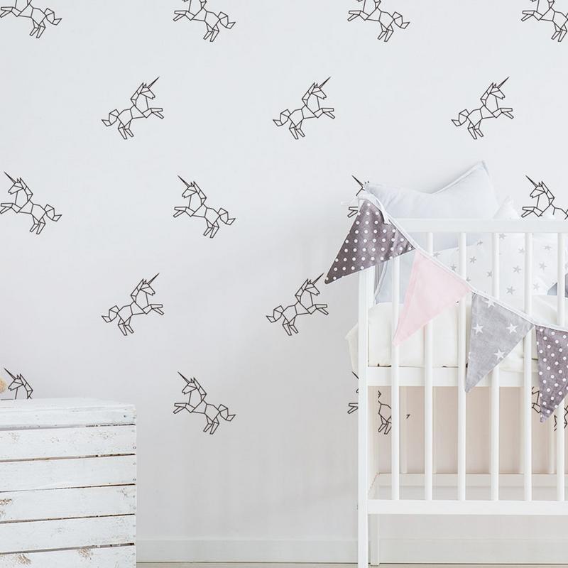 6PCS Unicorn Pattern Wall Sticker Removable Environmental Friendly Wallpaper Stickers Decoration For Bedroom Of Kid Kindergarten