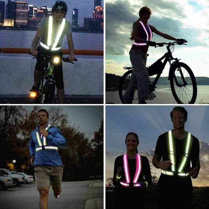 Verkehrs Auto Westen Sicherheit Reflektierende Mantel Elastische Einstellbare Reflektierende Getriebe Für Lauf Walking Jogging Radfahren Motorrad