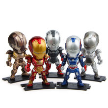 5 pcs/set Iron Man figure toy The Avengers hero Ironman doll cosplay decorative birthday gift desktop car model 10cm Q version(China)