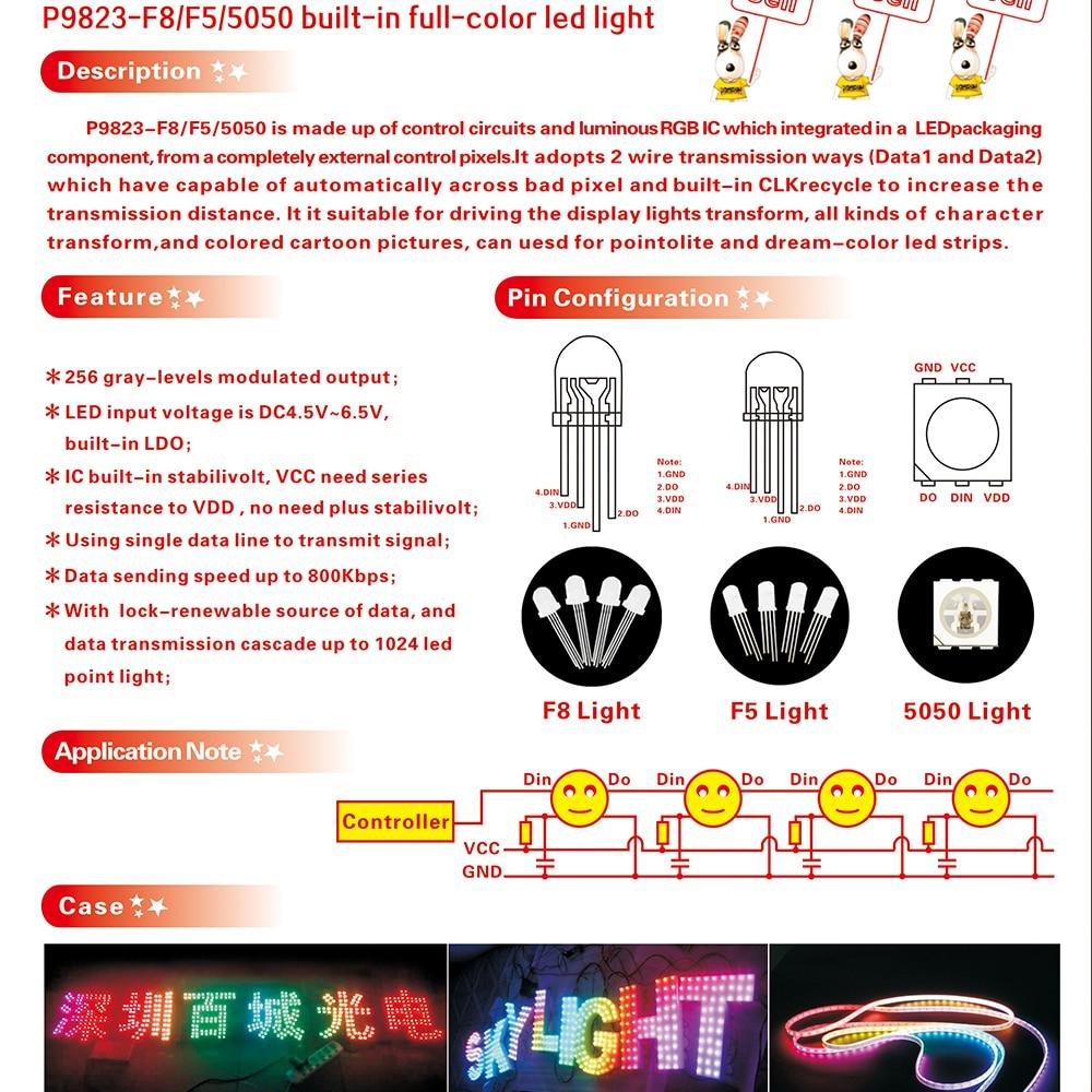 50 pcs PL9823 F8 8mm LED round RGB LED P9823 chipset inside Full color LED NEW