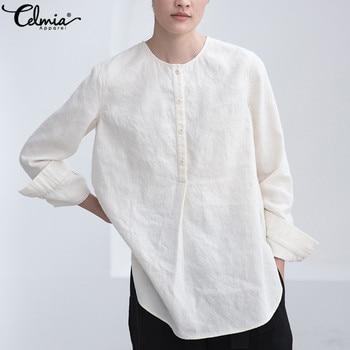 Celmia Vintage Blouse Women Long Sleeve Asymmetric Plus Size Tops 2020 Casual Buttons Loose Blusas Femininas 100% Cotton Shirts цена 2017