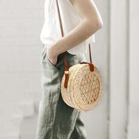 6b05c024f 2019 Summer Pure Handmade Beach Bag Shoulder Messenger Round Bamboo Bag  Woven Bag Beach Handbags Woven