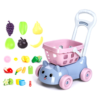 18Pcs Children'S Kitchen Toys Pretend Play Girl Shopping Cart Toy Simulation Kitchen Fruits Vegetables Cutting Playset For Kids