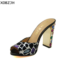 XOBZJH Women Shoes 2019 Luxury Rhinestone High Heels Sandals Sexy Ladies Wedding party Genuine Leather Open Toe Plus Size