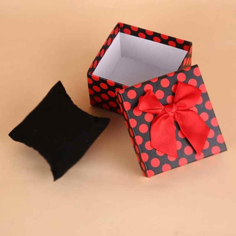 1 cái Hot Bán Vật Phẩm Sáng Tạo Hộp Quà Tặng Đóng Gói Lốm Đốm Bowknot Hộp Đồ Trang Sức Vuông Tông Carton Hộp Đồng Hồ Màu Sắc ngẫu nhiên