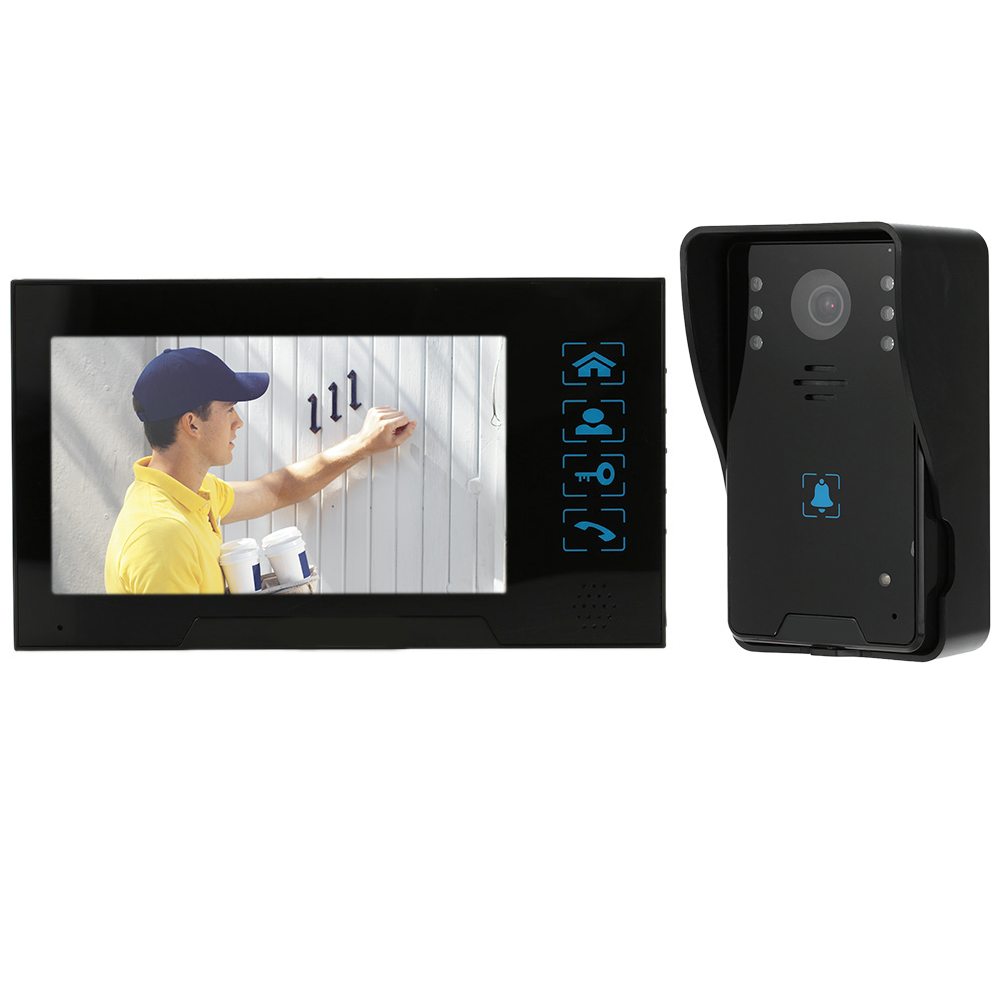 MOOL 7inch Wired Video Door Phone System Visual Intercom Doorbell With 1*800X480 Monitor + 1*1000Tvl Outdoor Camera + 8G Tf CaMOOL 7inch Wired Video Door Phone System Visual Intercom Doorbell With 1*800X480 Monitor + 1*1000Tvl Outdoor Camera + 8G Tf Ca
