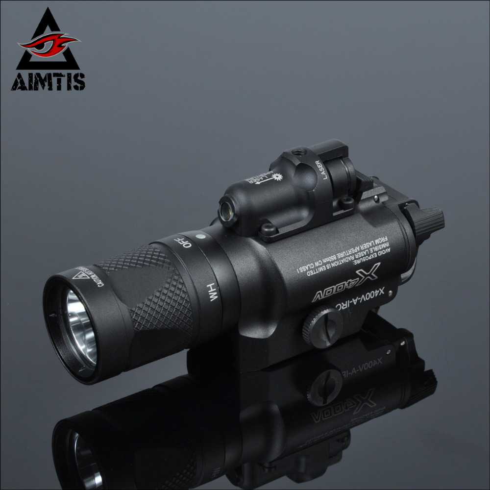 AIMTIS X400V IR Night Vision Weapon Light Combo Laser Tactical Pistol LED Red Laser Flashlight Ultra
