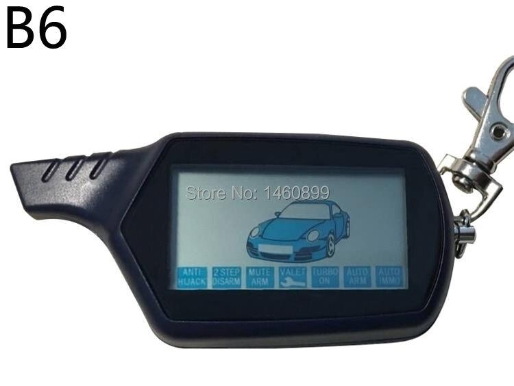 B6 de 2 LCD llave de Control remoto Fob cadena para vehículo ruso de seguridad sistema de alarma coche dos vías Twage starline B6