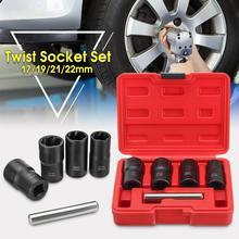5 pçs conjunto de soquete torção 1/2 polegada roda de acionamento removedor porca bloqueio/remoção 17mm 19mm 21mm 22mm soquete torcido