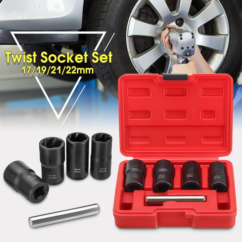 5pcs Twist Socket Set 1/2 Inch Drive Wheel Lock Nut Remover /Removal 17mm 19mm 21mm 22mm Twisted Socket