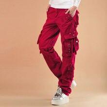 #0909 2020Hip Hop spodnie Unisex zgrywanie plisowana luźna odzież uliczna Cargo spodnie kobiety dorywczo biegaczy wiele kieszeni czerwony/czarny prosto