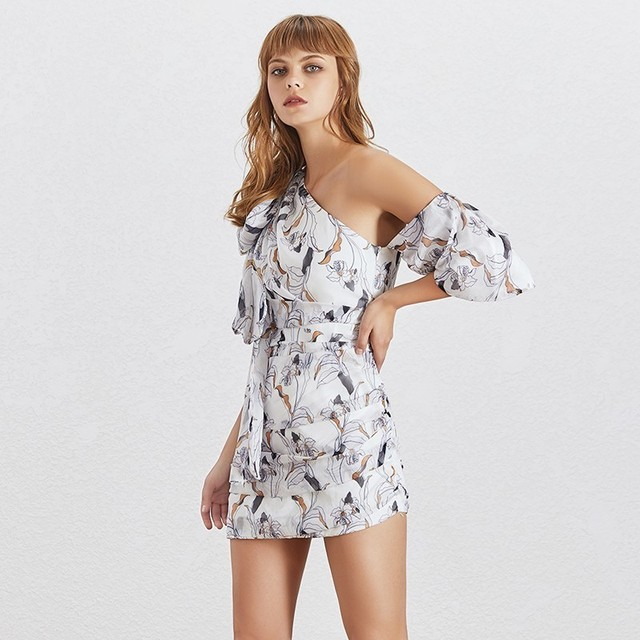 TWOTWINSTYLE Off Shoulder Print Women Dress Puff
