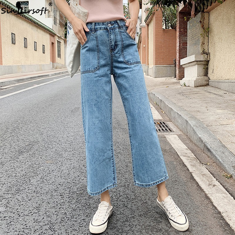 Denim   Wide     Leg     Pants   Women High Waist Jeans Casual Fashion Cropped Trousers Straight Loose Women's Ankle Length   Pants   Summer New